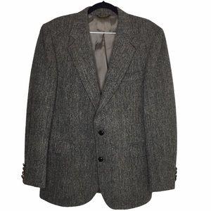VTG Harris Tweed Grey Wool Blazer Sz42R